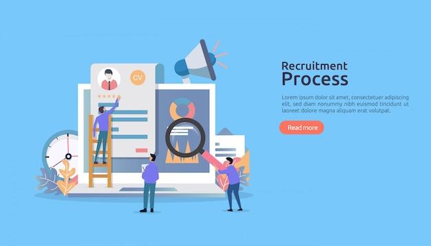 求人、人格を使ったオンライン採用。代理店インタビュー。再開プロセスを選択します。 Premiumベクター