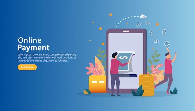 Рынок электронной коммерции покупки онлайн иллюстрация с крошечным характером людей. Premium векторы