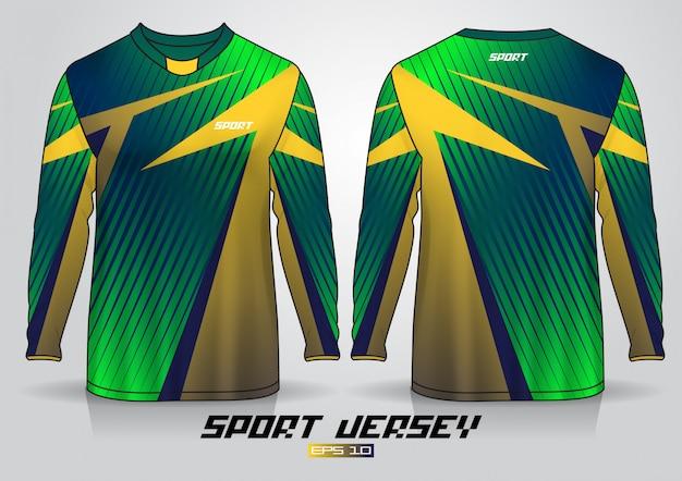 Шаблон дизайна футболки с длинным рукавом, равномерный вид спереди и сзади Premium векторы