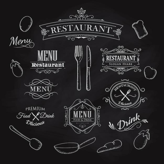 メニューレストラン黒板ヴィンテージハンの誤植要素 Premiumベクター