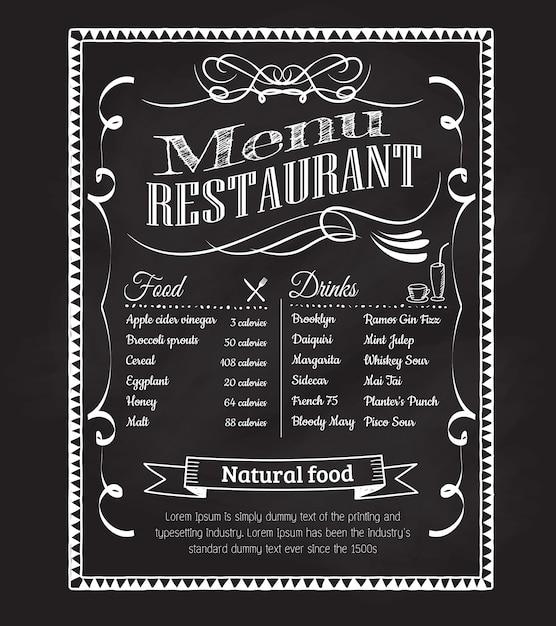 手描きのレストランメニュー黒板ビンテージフレームラベル Premiumベクター