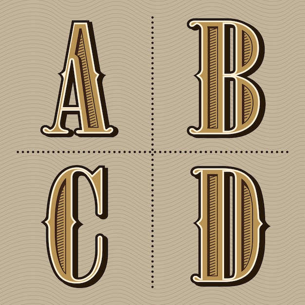 西部のアルファベット文字ビンテージデザインのベクトル Premiumベクター