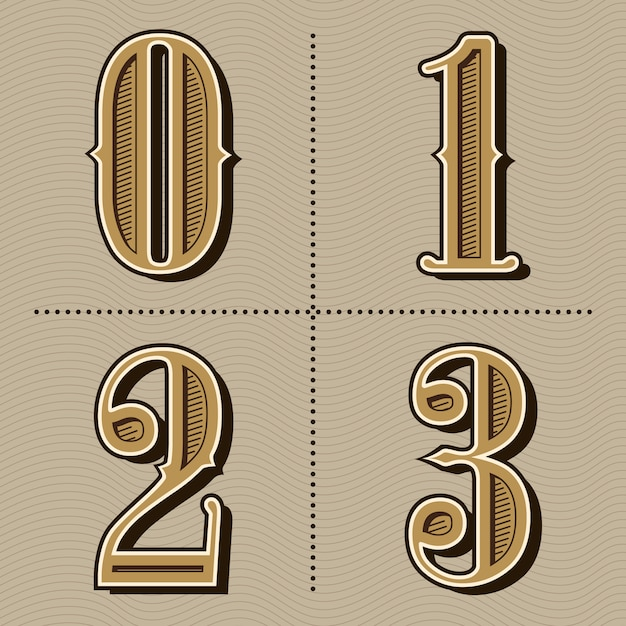 西部のアルファベット文字ビンテージ番号デザインベクトル Premiumベクター