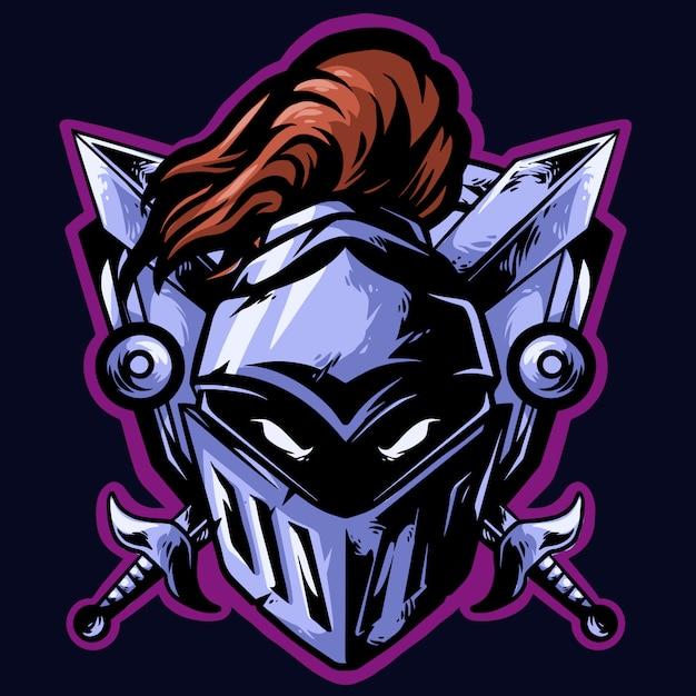 Логотип рыцаря киберспорта Premium векторы