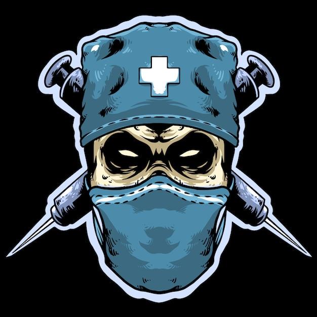 注射ロゴマスコットと頭蓋骨医師 Premiumベクター