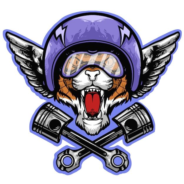 Голова тигра с шлемом и талисманом с логотипом поршня Premium векторы