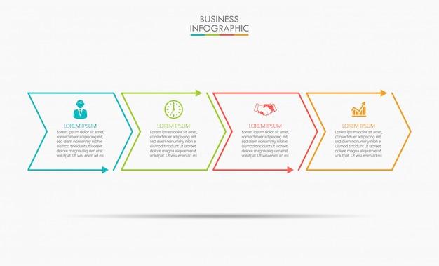 ビジネスデータの視覚化タイムラインのインフォグラフィック Premiumベクター