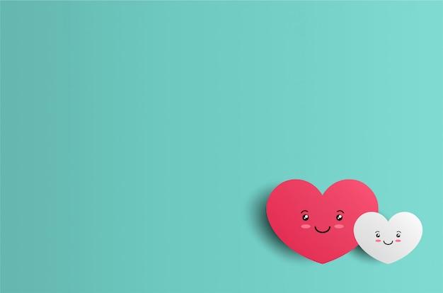 心の文字とバレンタインの背景 Premiumベクター