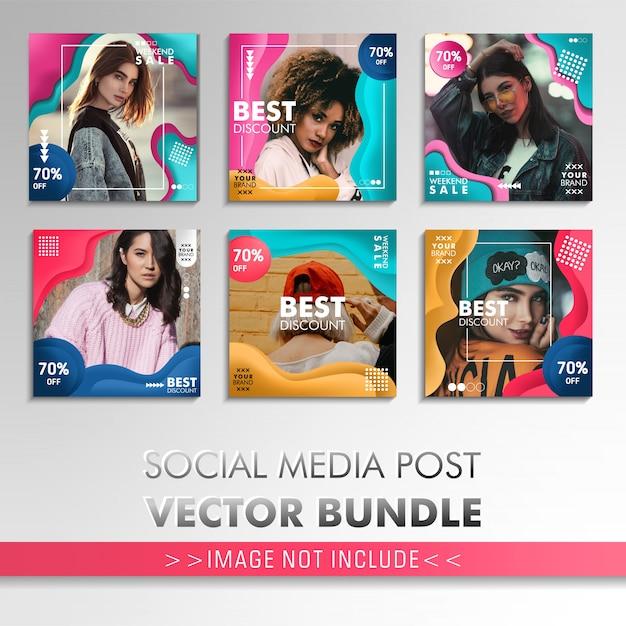 カラフルなソーシャルメディアの投稿テンプレート、ファッション販売のためのコレクション Premiumベクター