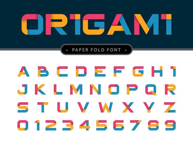 折り紙のアルファベットの文字と数字のベクトル Premiumベクター