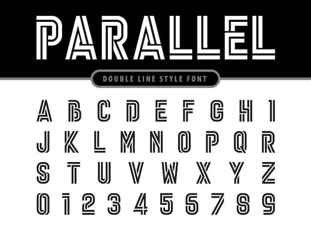 現代のアルファベットの文字と数字のベクトル Premiumベクター