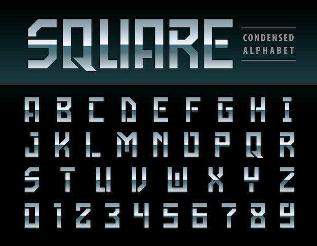 モダンスクエアアルファベットの文字と数字のベクトル Premiumベクター
