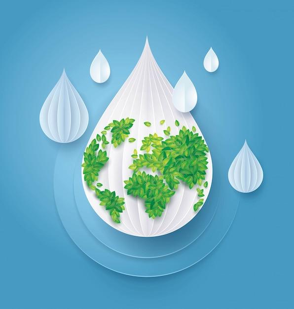 水と世界を保存、葉アース地球地図抽象的な水滴の背景 Premiumベクター