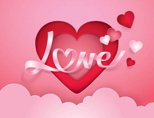筆記体のアルファベットの愛とハートのリボン紙アート Premiumベクター