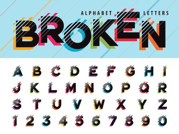 グリッチ現代アルファベット文字と数字 Premiumベクター