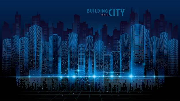 抽象的な未来の都市ベクトル、デジタル都市景観の背景。透明な街並み Premiumベクター