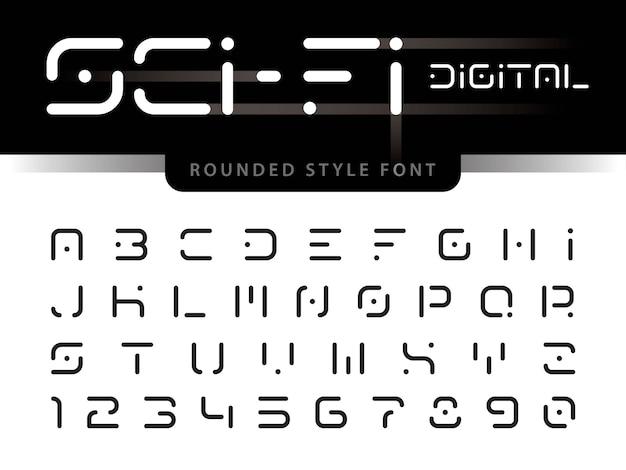 未来のアルファベット文字と数字、デジタル技術 Premiumベクター