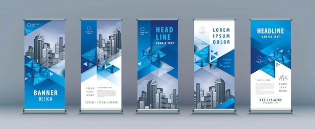 ビジネスロールアップセット、立ち客バナーテンプレート、幾何学的三角形 Premiumベクター