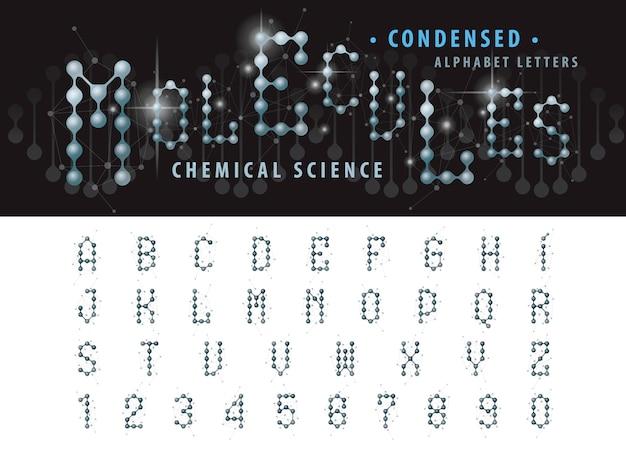 抽象的な分子セルアルファベット文字と数字、凝縮フォントのベクトル Premiumベクター