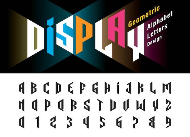 歪んだモダンなアルファベット文字と数字、ミニマリストのフォントデザインのベクトル Premiumベクター