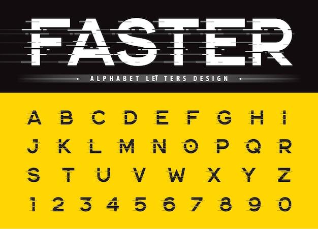 グリッチ現代アルファベット文字と数字、グランジ線形様式化された丸いフォントのベクトル Premiumベクター