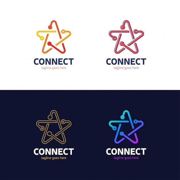 人々は星のロゴタイプのネットワークアイデアを結ぶ Premiumベクター