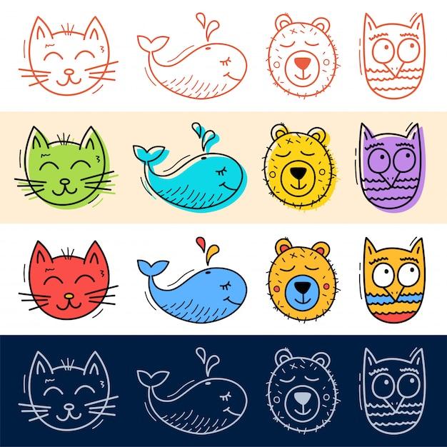 手描く猫、フクロウ、クジラ、クマのアイコンをあなたのデザインの落書きスタイルに設定します。 Premiumベクター
