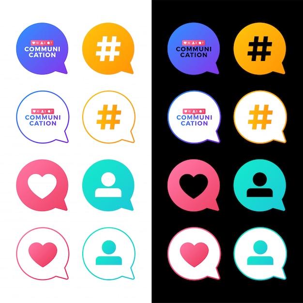 ソーシャルメディアコミュニケーションの概念のベクトル図を設定します。メッセージバブルにおける社会活動とのコミュニケーションの言葉。 Premiumベクター