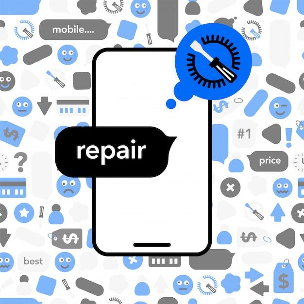 携帯電話の修理 Premiumベクター