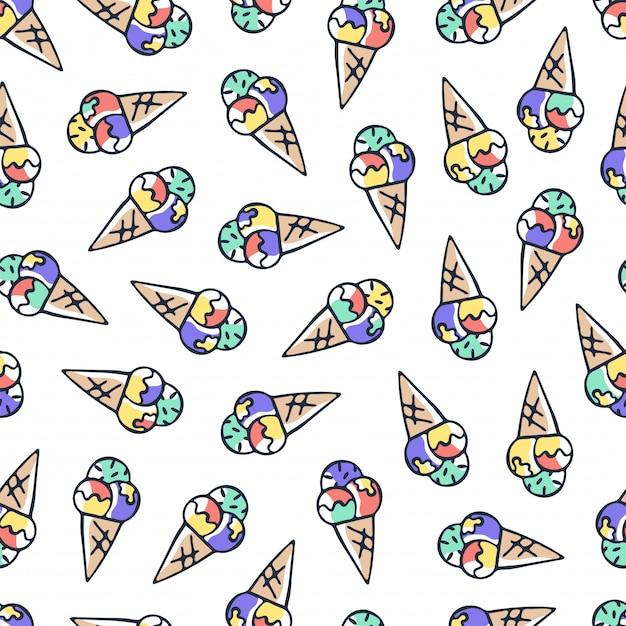 手描き落書きアイスクリームのシームレスパターン Premiumベクター