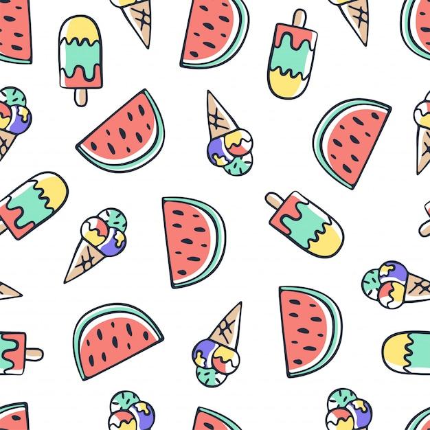 手描き落書きアイスクリームとスイカのシームレスパターン Premiumベクター