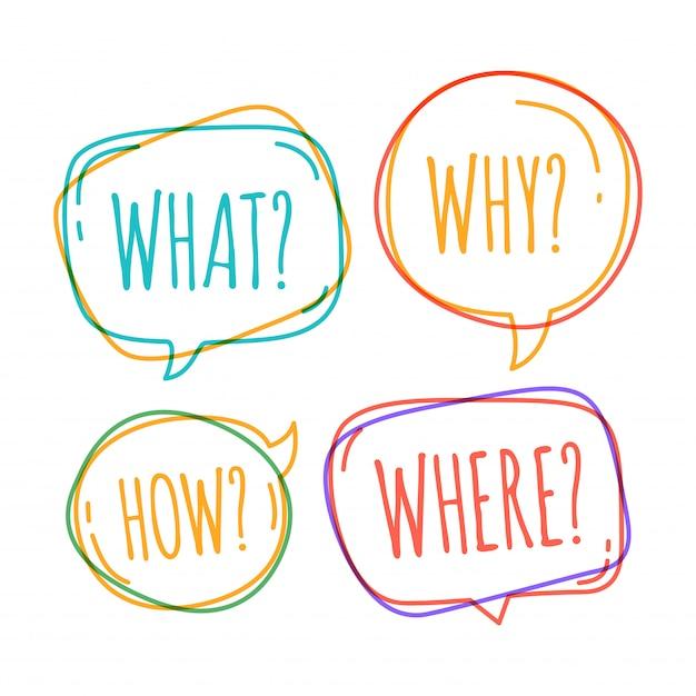 Набор различных речи пузырь в стиле каракули с текстом, почему, что, как, где вопрос внутри Premium векторы