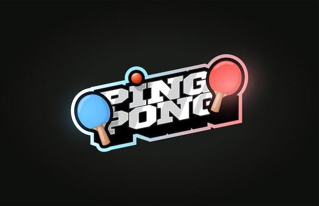 Пинг-понг современный профессиональный спортивный логотип в стиле ретро Premium векторы