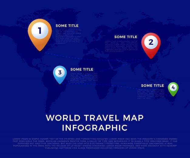 Мир путешествий инфографики шаблон карты, цветные значки как визуализация данных. шаблон карты мира инфографики, цветные значки как визуализация данных Premium векторы