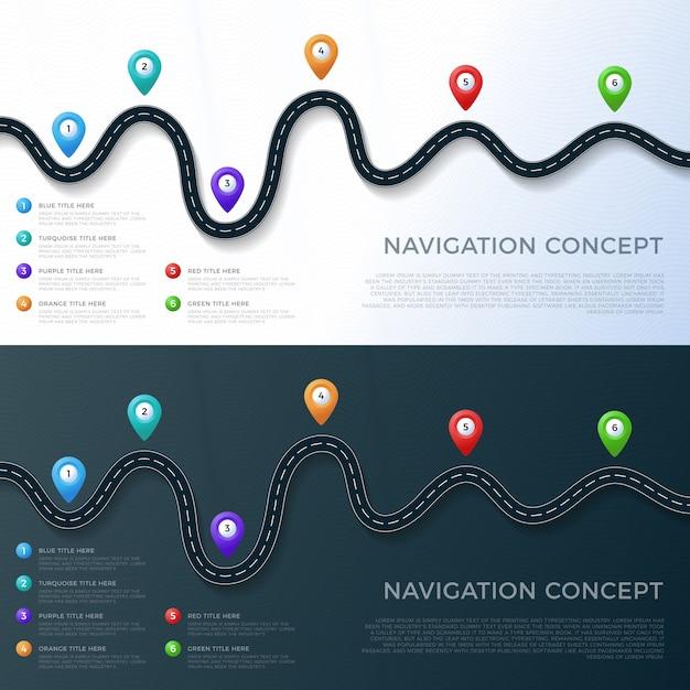 Дорога путь расположение инфографики шаблон с указателем пин. Premium векторы