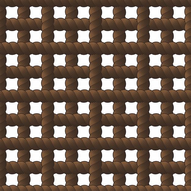 ロープのシームレスなパターン、トレンディなベクトルの壁紙。結び目が付いたコードスタイリッシュな無限の図。ファブリックに使用可能。壁紙、ラッピング、ウェブ、印刷 Premiumベクター