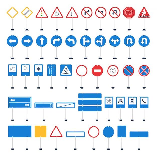 Вектор мега набор мультяшных дорожных знаков Premium векторы