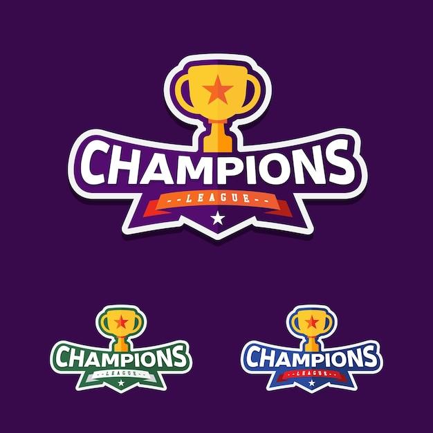 トロフィーとチャンピオンスポーツリーグのロゴエンブレムバッジグラフィック Premiumベクター