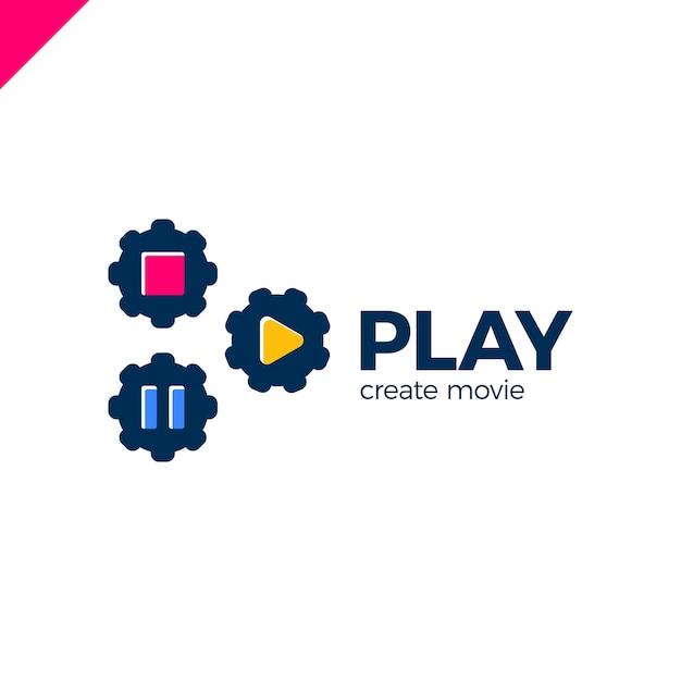 ビデオギアのロゴ付き再生アイコン Premiumベクター