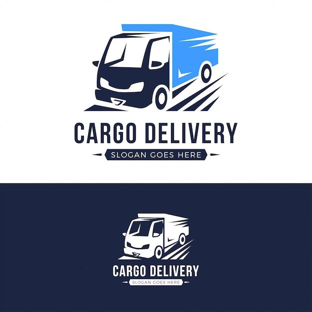 貨物配達トラックのロゴのテンプレート Premiumベクター