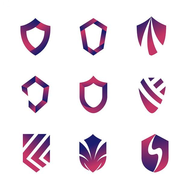 Абстрактный набор шаблонов логотипа щит Premium векторы