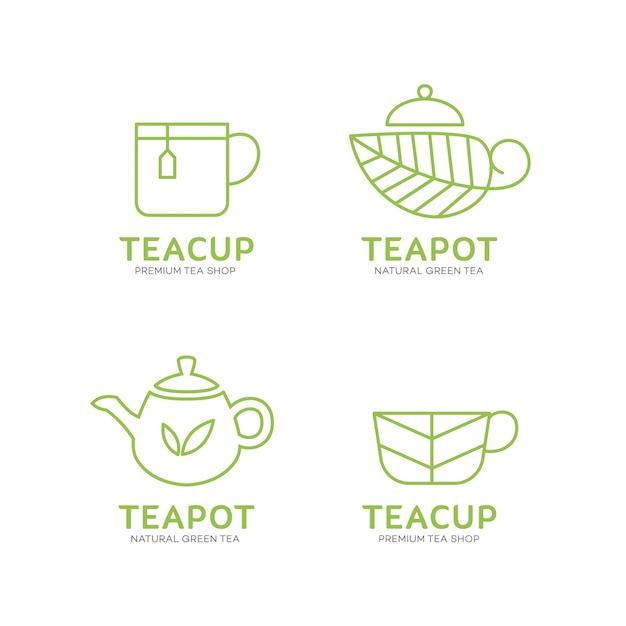 ティーポットとティーカップのロゴのテンプレート Premiumベクター