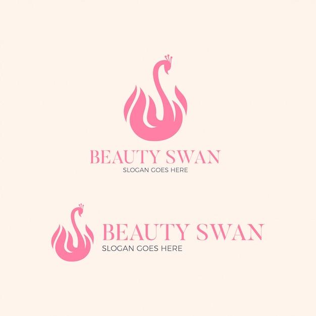 美容白鳥のロゴデザイン Premiumベクター