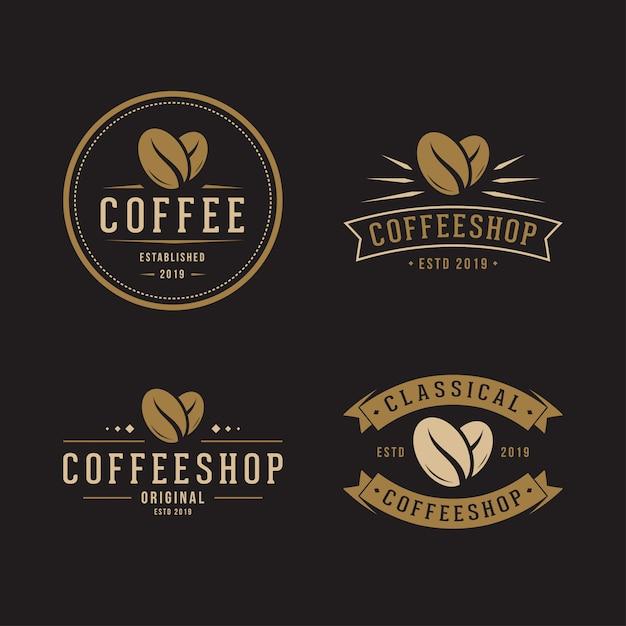Набор кофейных зерен с логотипом Premium векторы