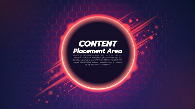 六角形と円の中心の抽象的な背景。技術コンセプトについての図。 Premiumベクター