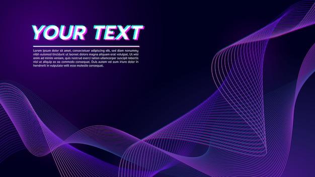 抽象的な波線背景濃い紫色のトーン。 Premiumベクター
