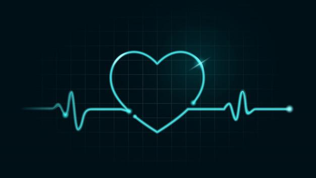 心電図モニターの緑色のチャート上のデジタル線はハート型になるように動きがあります。脈拍数と健康の概念についての図。 Premiumベクター