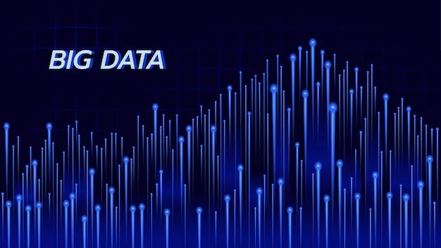 Абстрактная предпосылка о технологии больших данных в голубой теме. Premium векторы