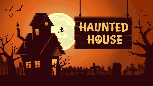 Ужас фон с дом с привидениями в ночь полнолуния. Premium векторы