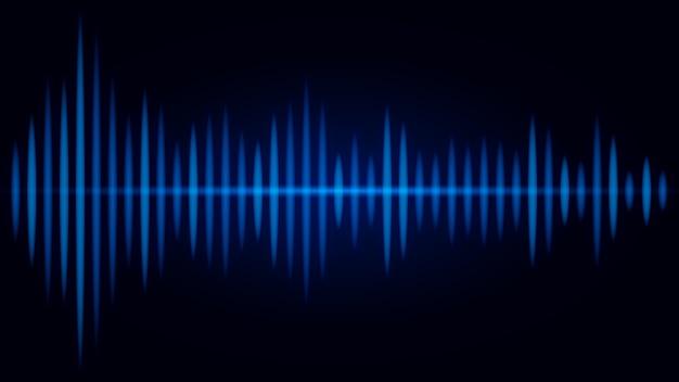 黒い背景に音波の青い周波数。オーディオのビジュアルに関する図。 Premiumベクター